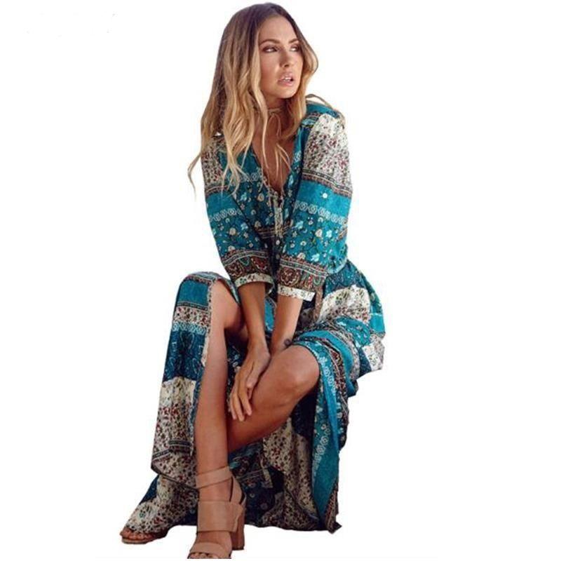 Retro Hippie Vestidos Boho Dress Robe Women Bohemia V-neck Three Quarter Sleeve Floral Print Ethnic Beach Long Sexy Dress S6923 Y190507