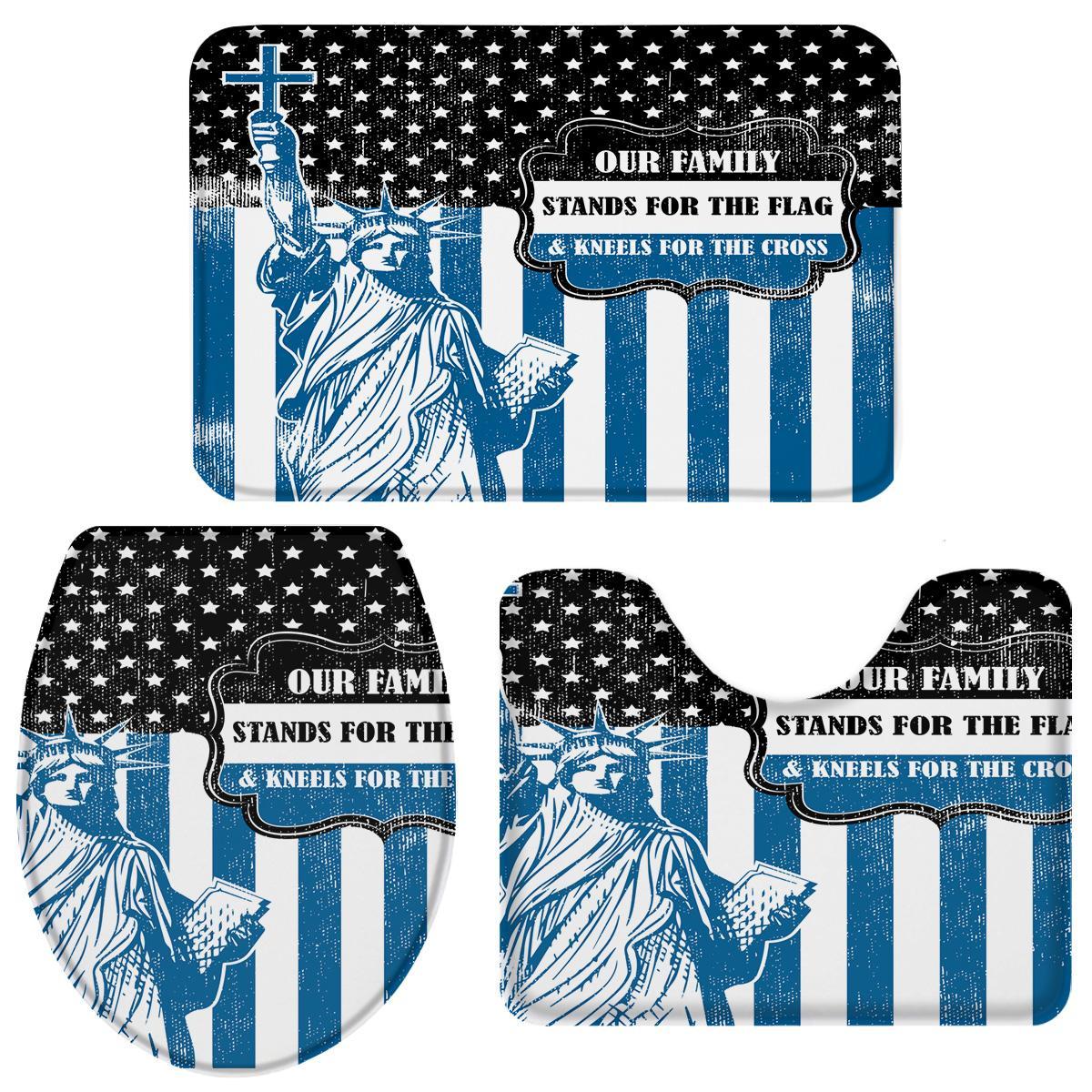 3 piezas de baño patrones establecidos Día de la Independencia de América rayado azul bandera decorativos duradero Set de baño WC cubierta Mat