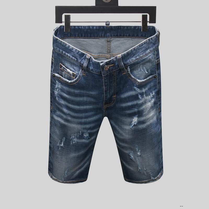 dsquared2 DSQ D2 DSQUARED2 concepteur mens jeans courts trous droites jeans serrés club jean bleu nuit casual été coton pantalon hommes style université loisirs