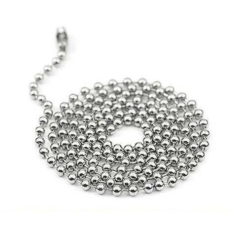 Cadenas de bolas de bolas de aleación de metal de 60 cm / 24 pulgadas para colgantes de placa de identificación con superficie de espejo