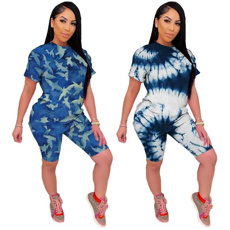 2020 Nuove Donne di moda Set Summer Tracksuits sportswear T-shirt casual collant stampato Camouflage Tie-Dye Abito in due pezzi