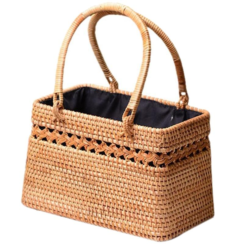 Straw Bag For Women Handmade Tote Bag Natural Chic Handbag With Wood Handle Large Basket For Beach Outdoor Bohemia Style