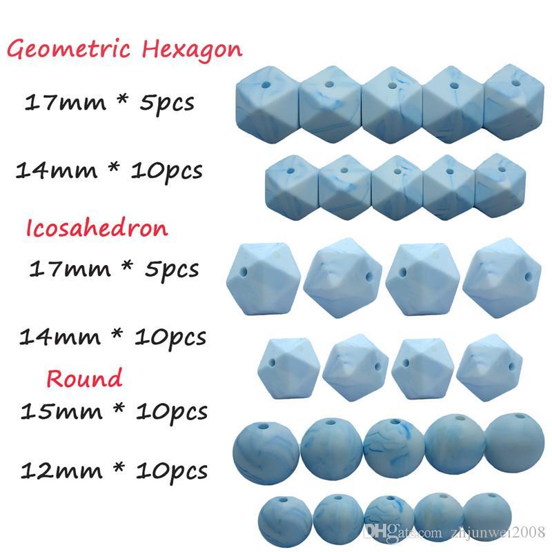 marmo blu Perline di Silicone Massaggiagengive set esagonale rotondo icosaedro 50 PZ FAI DA TE Food Grade Borda Il Braccialetto Della Collana Accessori fare