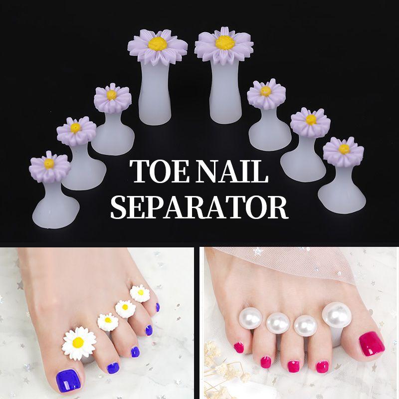 8 adet Nail Art Toe Ayırıcı Çiçek Kalp İnci Elmas Silikon Ayak Ayak parmakları Ayırıcı Silika Jel Parmak Parmak Yayıcı D242