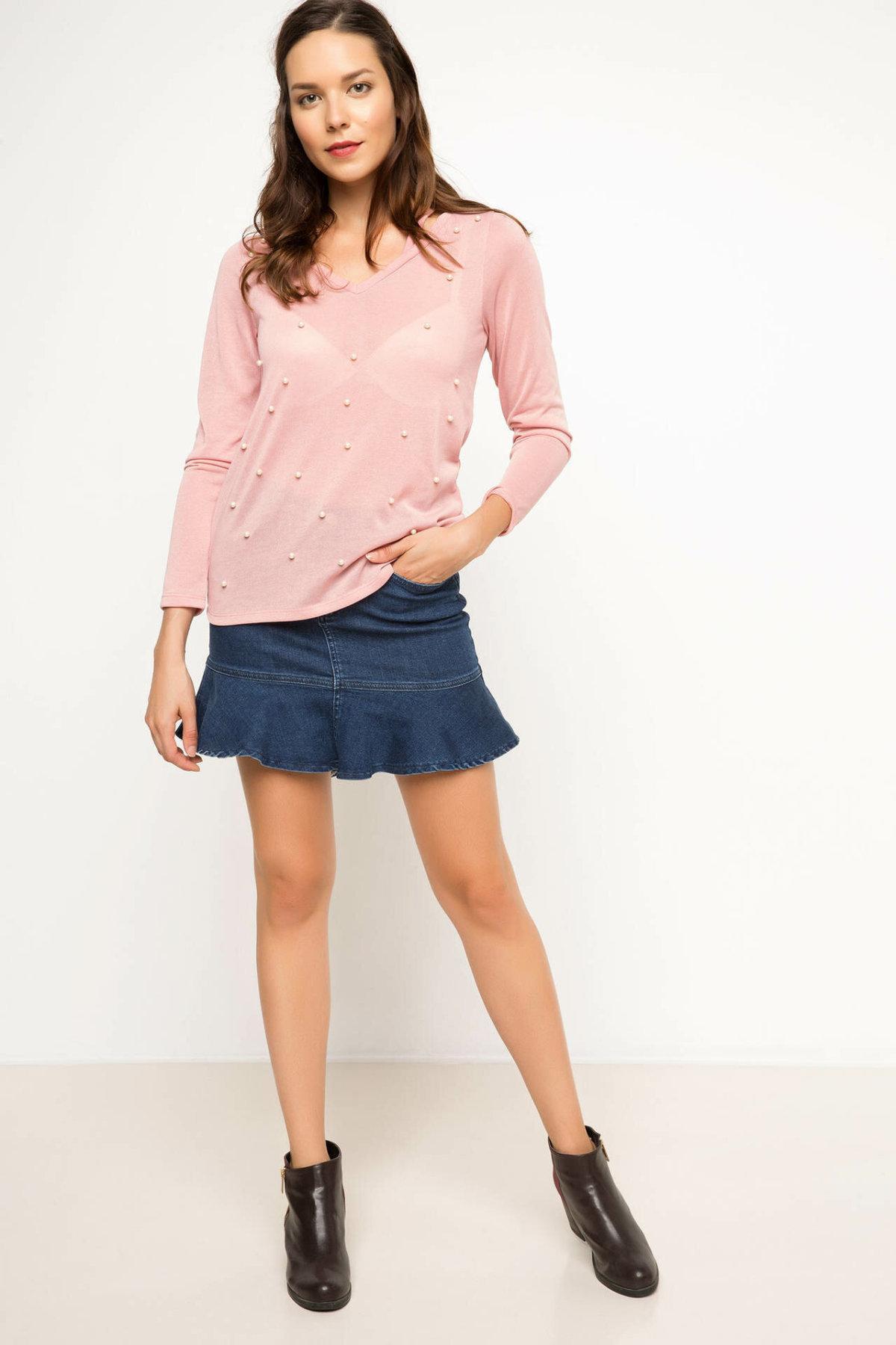 DeFacto Bleu Femmes Ruffles Jupe en denim Casual taille haute couleur solide Jeans simples Jupe courte mode -I2397AZ17AU-I2397AZ17AU