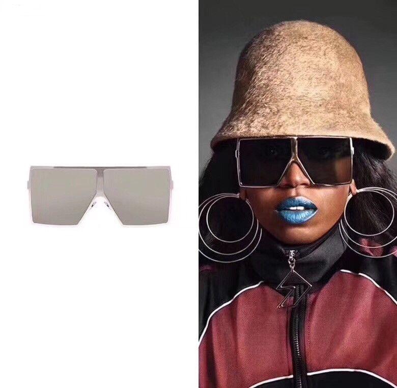 Occhiali da sole quadrati oversize Donne 2020 Fashion Flat Top obiettivo chiaro Rosso Nero One Piece Uomini Occhiali Ombra UV400 cornice dello specchio completa
