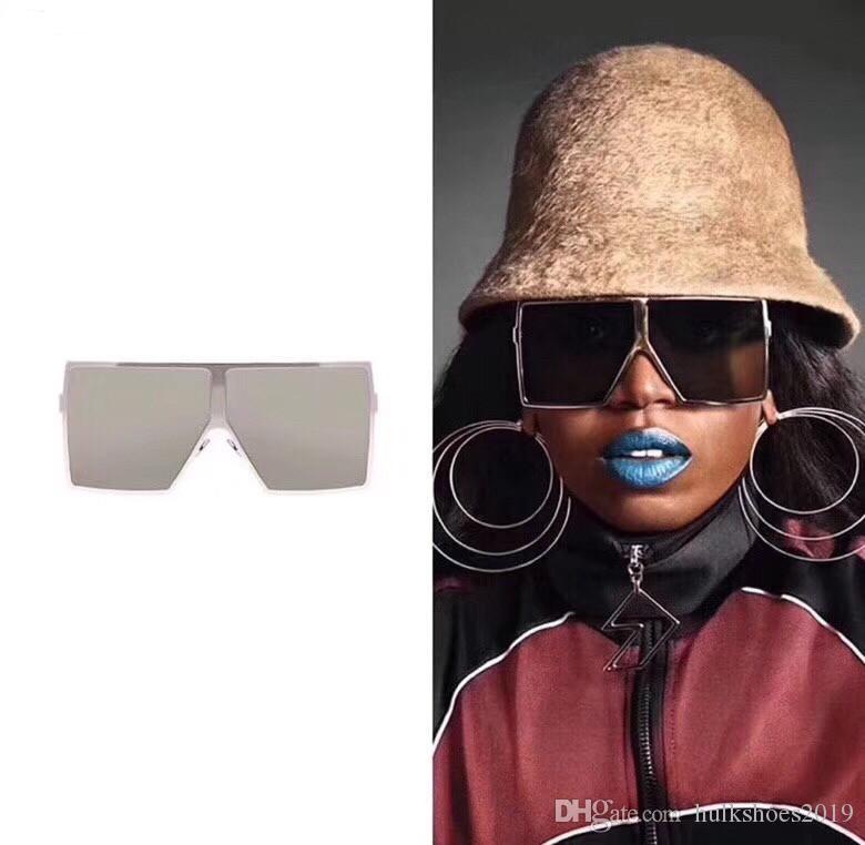 المتضخم ساحة نظارات شمسية نسائية 2020 الأزياء شقة الأعلى الأحمر الأسود واضح عدسة قطعة واحدة للرجال Gafas الظل UV400 الإطار مرآة كاملة