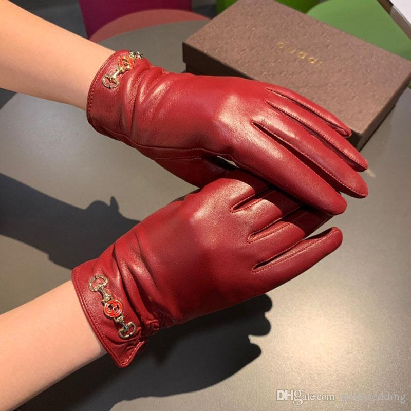 Fashion Red Touch Screen Gloves Winter Warm Sheepskin Cashmere Girl Gloves Personality Female Five Fingers Gloves