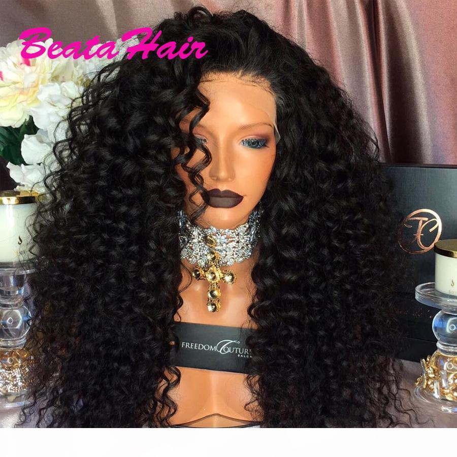 Uzun Kıvırcık Dantel Peruk Tutkalsız Tam Dantel Peruk Bakire Brezilyalı Derin Kıvırcık Saç Dantel Ön İnsan Saç Peruk İçin Siyah Kadınlar