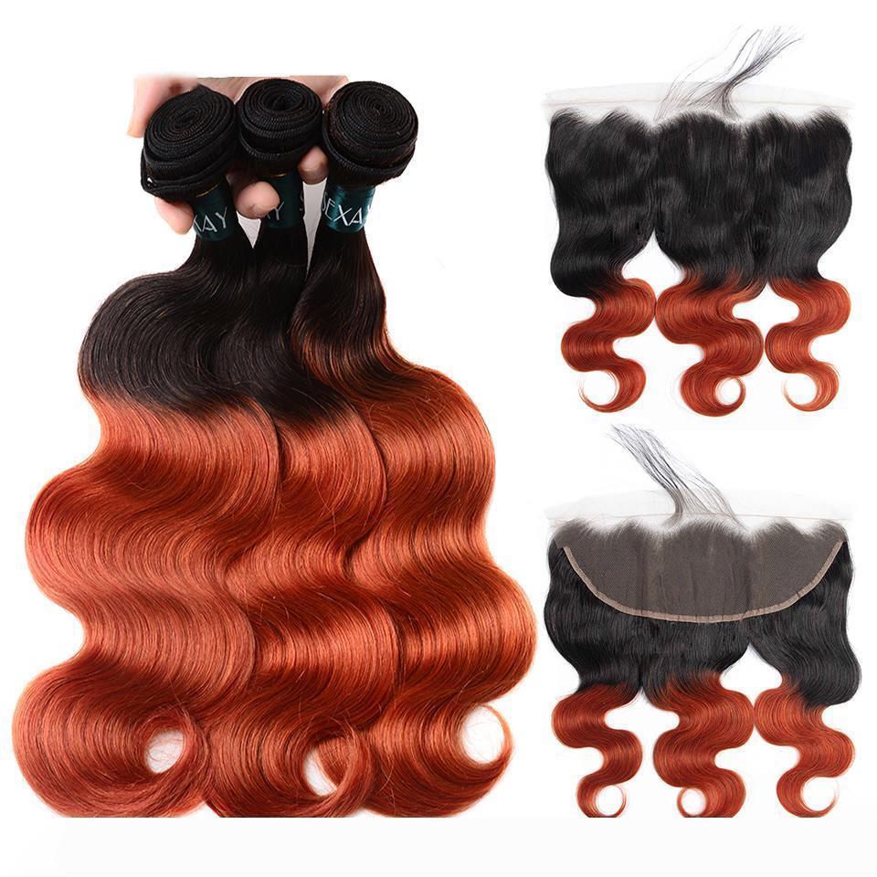 Una brasileña Ombre 1b 350 la onda del cuerpo del pelo de Remy teje Humanos 3 Paquetes con cierre Los frontales dobles tramas extensiones de cabello