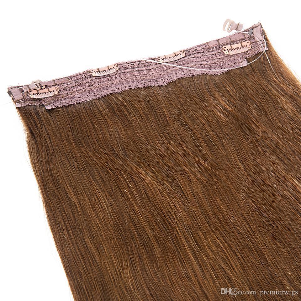 VMAE Russian Silky Straight Halo Flip in Human Hair Extensions All Colors 140g No Glue No Clips Fish Line Virgin Human Hair