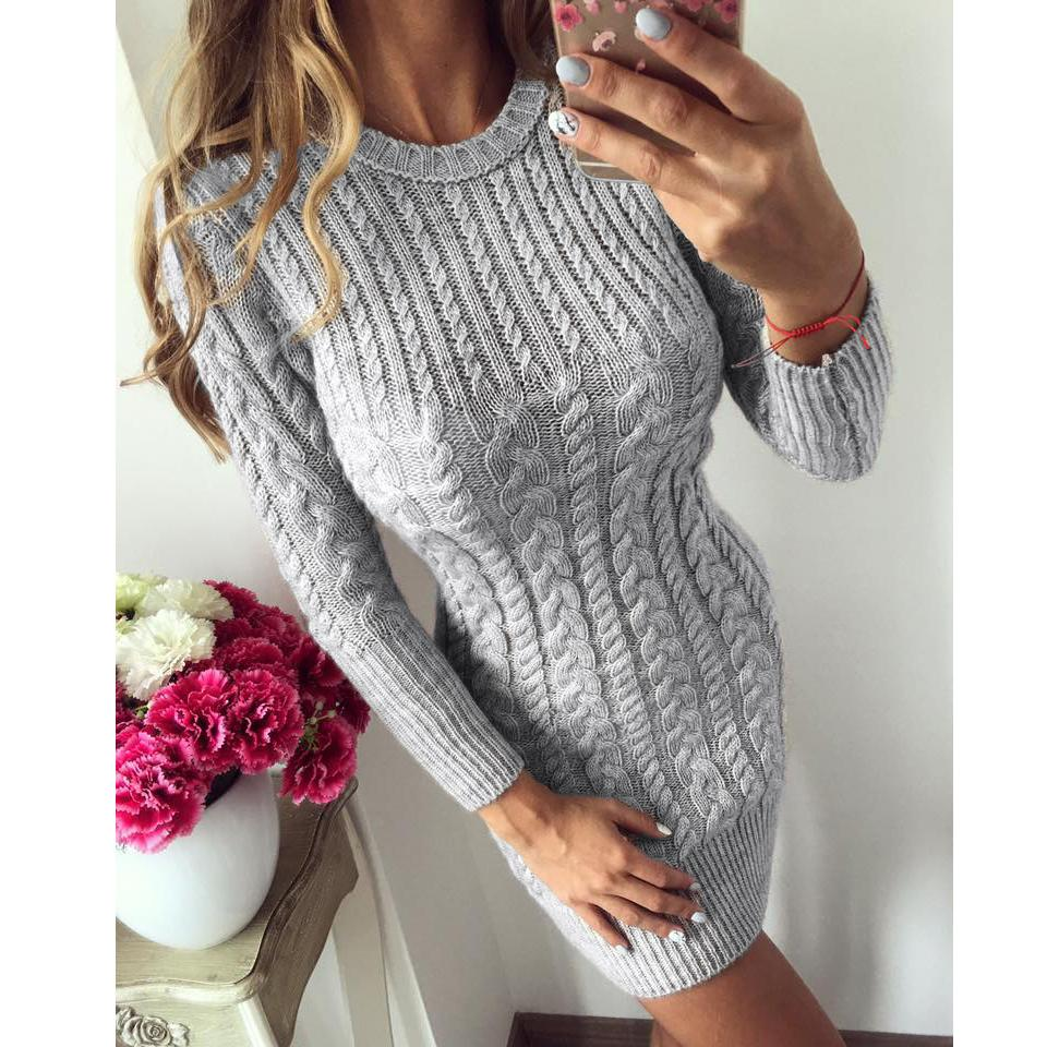 Fashion-Sweater Dress Women 2018 New Autumn Winter Sexy Slim Tight Dress Female O neck Long Sleeve Knitted Vestidos