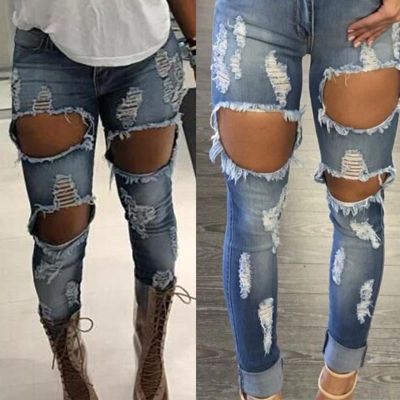 Calça Jeans Mulher Denim Calças de Brim Strech Buraco das Mulheres Rasgado Lápis de Cintura Alta Calças Lápis Fino Plus Size Rock Jeans MX190712