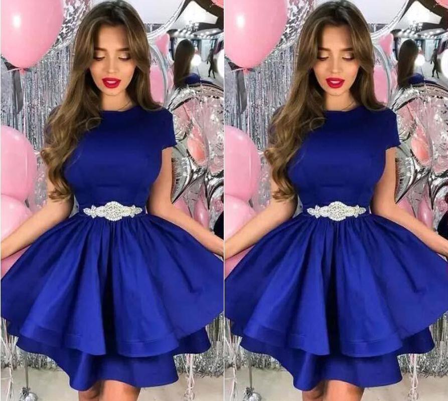 Setwell 2019 로얄 블루 보석 A 라인 칵테일 드레스 반팔 두 계층 짧은 미니 파티 댄스 파티 드레스와 구슬