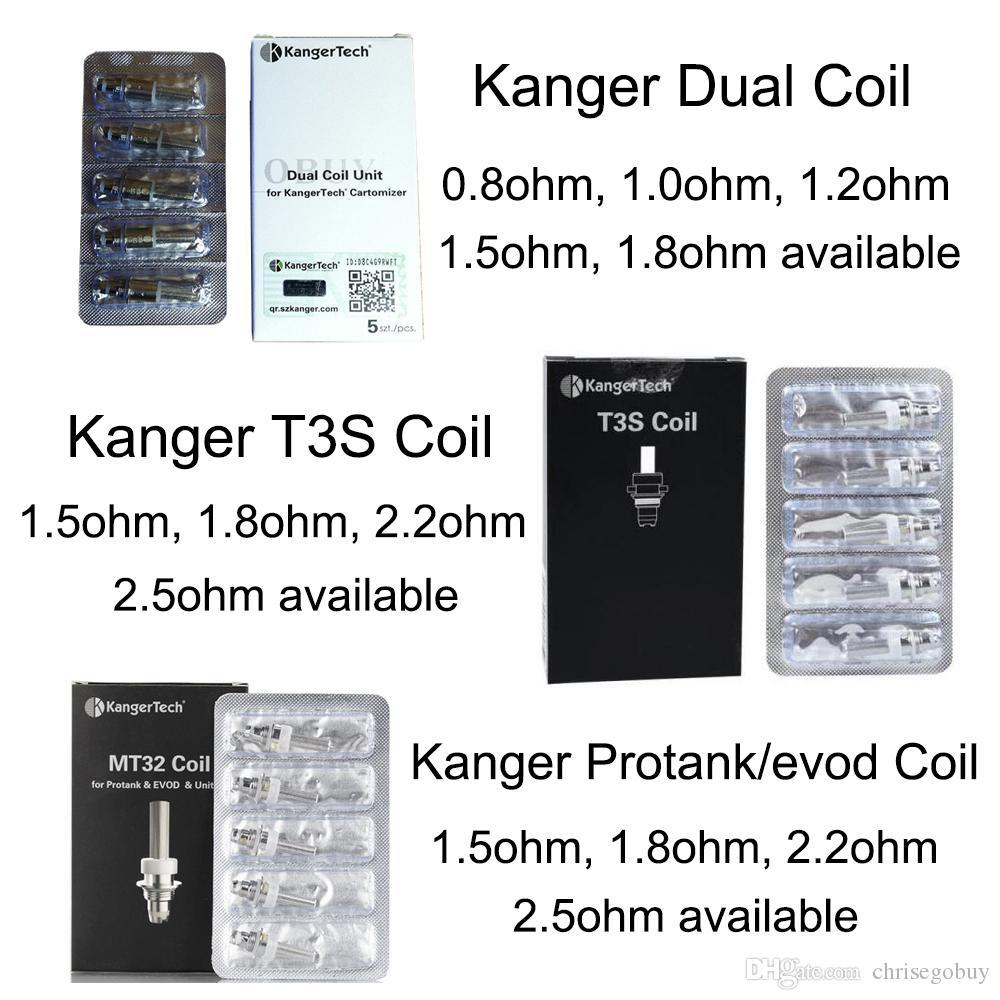Authentische Kanger Neue Dual Coil Einheit protank t3s Spulen für kangertech Protank 3 genitank emow aerotank mega T3D Evod Mini Protank 2 T3s