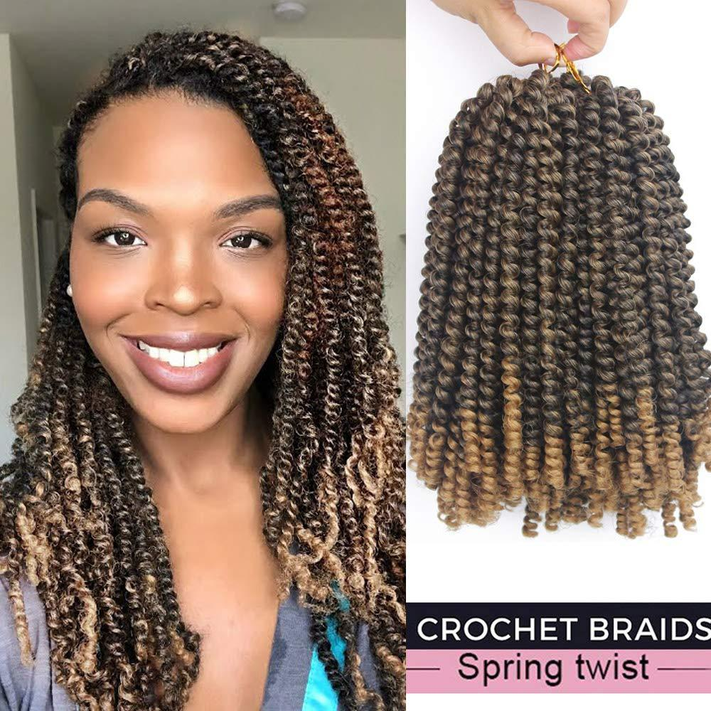 ¡Caliente! Color de la mezcla Nuevo estilo trenzado de resorte trenzado 8 pulgadas Ombre Jumpy Jamaican Roots Curl crochet Rebote Extensión del pelo sintético