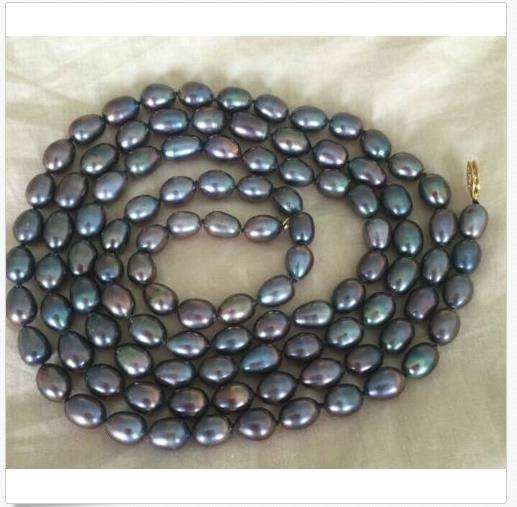 12-13mm Barock Tahitian Multicolor schwarz blaue Perlenkette 48inch 14k