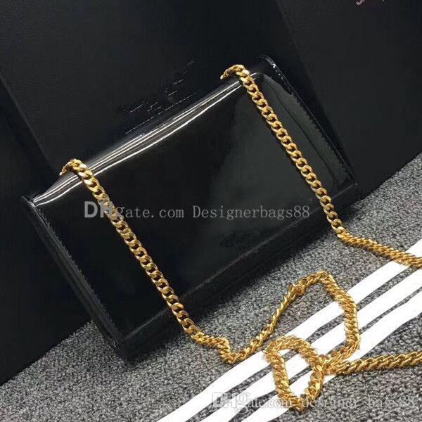 Cadena de la borla de calidad superior del bolso bolsos de embrague de patente de las mujeres bolso de cuero bandolera bolsa de mensajero de las señoras monedero totalizadores Crossbody