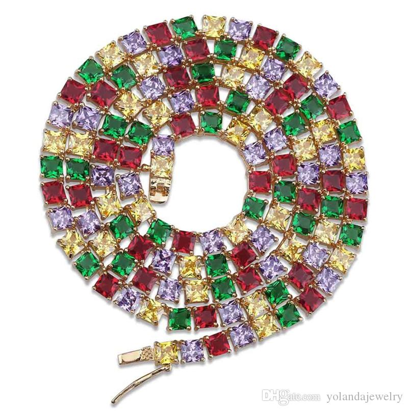 5MM 18inch 20inch Yellow White Gold Color Colorful Square CZ Tennis Link Chain Necklaces for Men Women Hot Gift