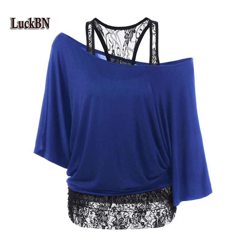 2018 T-shirts femmes d'été 2pcs en vrac Gilet Ensembles dentelle Brochage épaule Inclined manches chauve-souris T-shirt Bleu Taille Plus Chemisiers 5XL