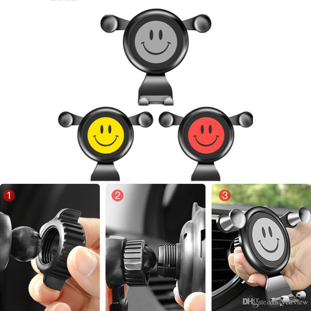 Universel de voiture Gravity Air Vent Clip Support de téléphone mignon sourire Visage Rotatif Support Support De Voiture Téléphone Navigation GPS Titulaire pour iphone Samsung