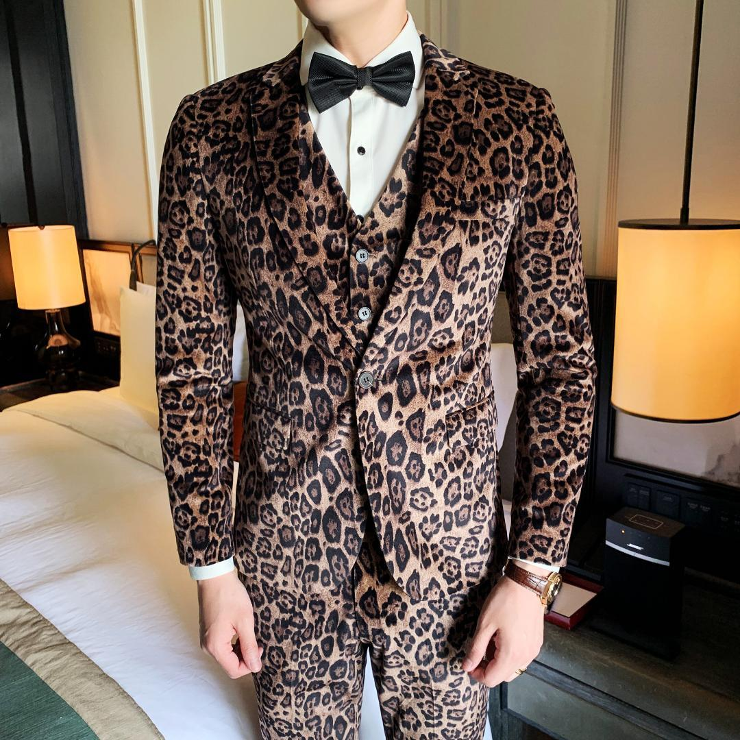 Velvet Suits Mens Leopard Slim Suits Men 2019 Stage Clothes Party Dress mens 3 Piece Wedding Dress Moda Masculina