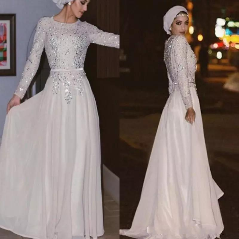 2018 Muslim Long Sleeves Evening Dresses Sequins Chiffon Arabic Abaya Party Dresses Floor Length Back Zipper White Prom Dresses