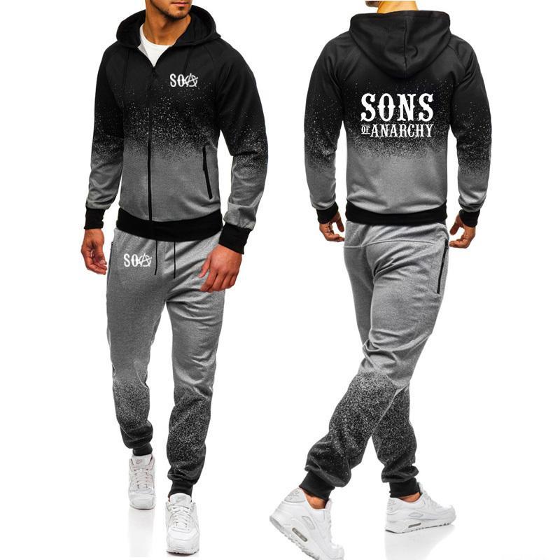SOA Sons of anarchy a criança Sportswear SAMCRO Gradiente Hoodies Homens Streetwear Zipper Jacket camisola Sweatpants 2pcs Suit