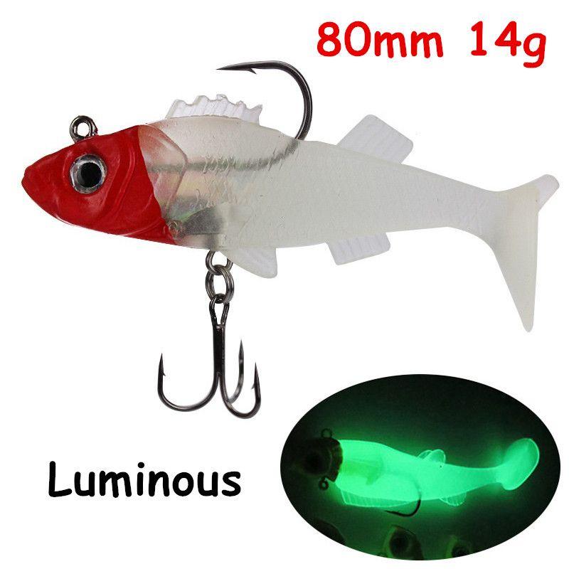 1pc 3D Eyes Jigs Fishing Lure PVC Soft Baits & Lures Luminous 80mm 14g 6# Fishing Hooks WA_45