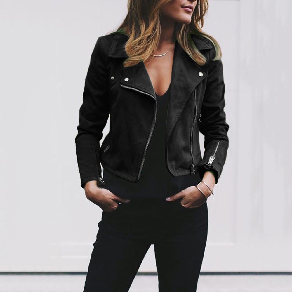 أزياء المرأة السيدات الرجعية برشام سستة يصل منفذها سترات عارضة معطف جلد ناعم معطف سيدة الخريف الشتاء قميص الأساسية 7.19