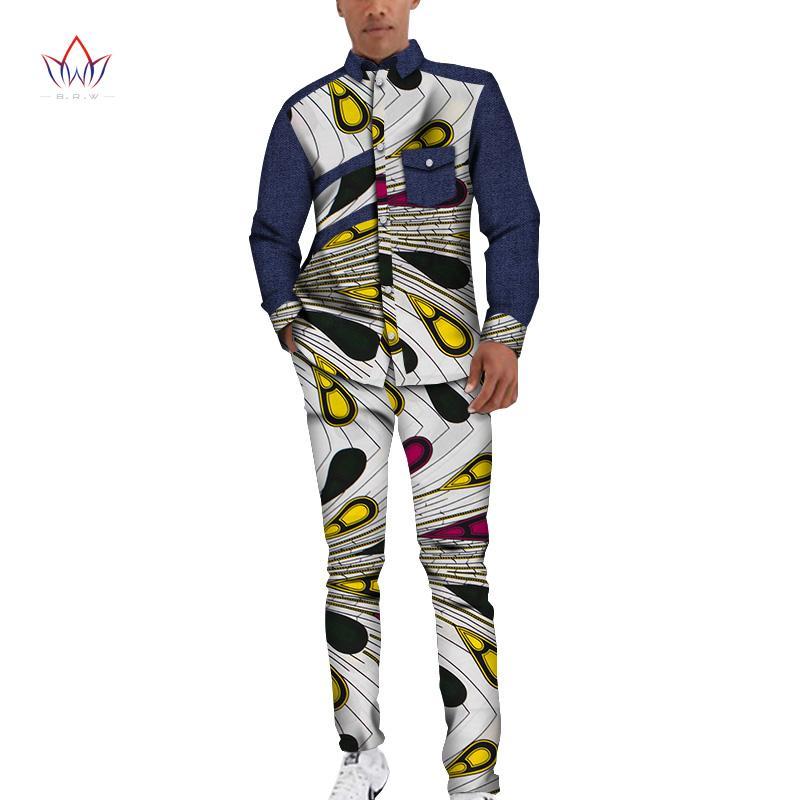 Bazin Riche Men 2 Stück Hosen Sets African Design Kleidung afrikanische Kleidung Casual Men Top-Hemden und Hosen Sets WYN1212