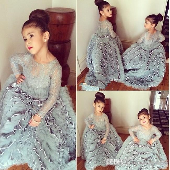Princess Grey Girls Pageant Dress 2019 Jewel Neck Lace Appliqued Long Sleeve Flower Girls Dresses for Wedding Big Ruffles Kids Formal Wear