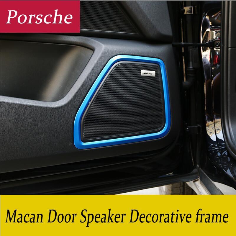 pegatinas panel de puerta del cromo del coche del altavoz del anillo de decoración Círculo Con Rejilla Protectora Cubierta Anillo recorta 3D para Porsche Macan