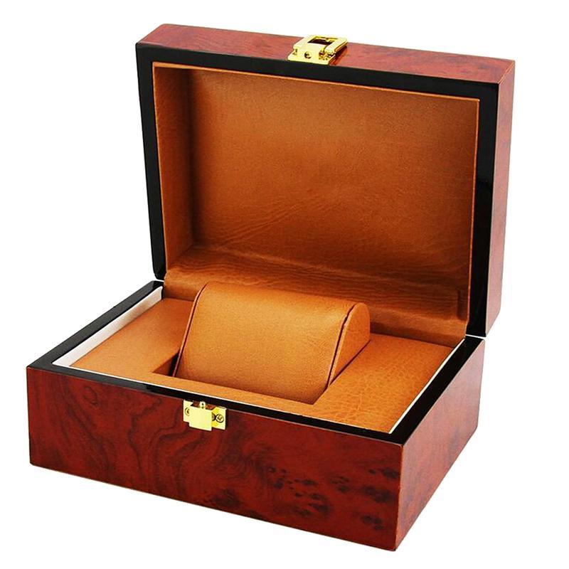 Cojín de lujo interior de madera de bloqueo de cierre de joyería de metal sólido reloj de almacenamiento Display Box escaparate para hombre del regalo