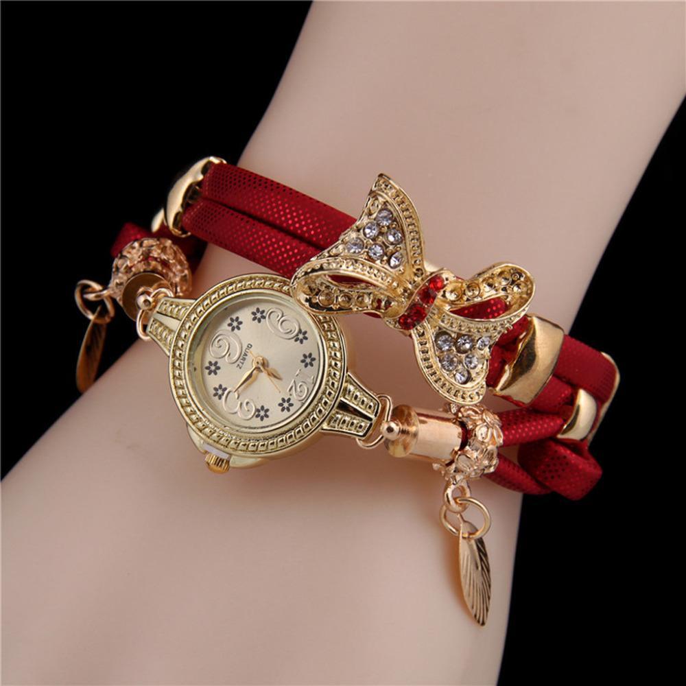 Ladies Watch Creative rétro papillon en strass Bracelet Montres beau mariage Quartz Montres-bracelets en cuir femmes Montre bracelet # B