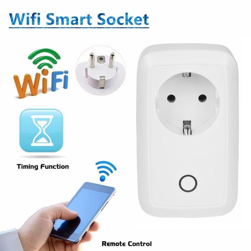 Precio al por mayor Wifi Socket inteligente Enchufe de control de salida inalámbrica 10A Socket estándar de la UE para el control de automatización del hogar inteligente Productos para el hogar