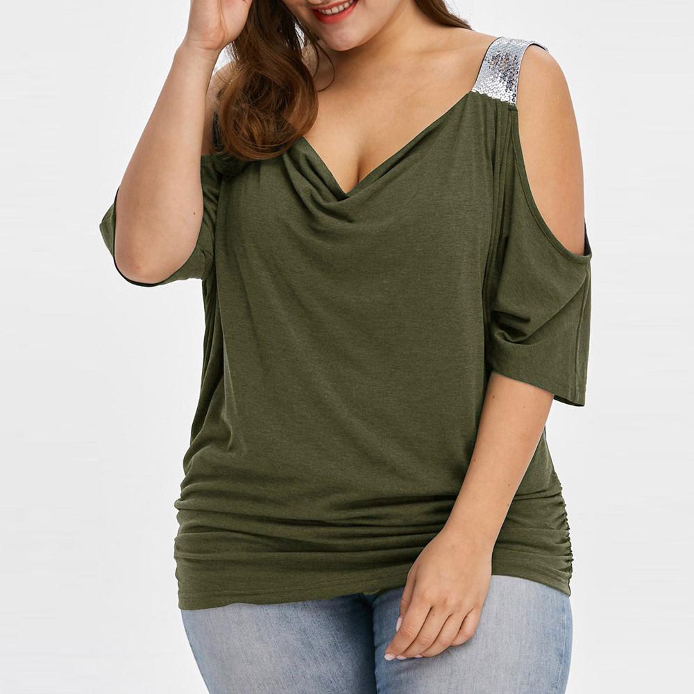 2019 блесток блузка плюс размер рубашка с плеча повседневная V шеи женские топы и блузки Harajuku Женская одежда большой размер MX190710