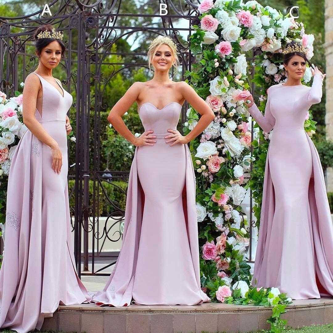 Elegant Light Purple Long Sleeve Bridesmaid Dresses Mermaid Satin Detachable Train Appliquing Guest Dresess Plus Size Prom Dresses Vestidos
