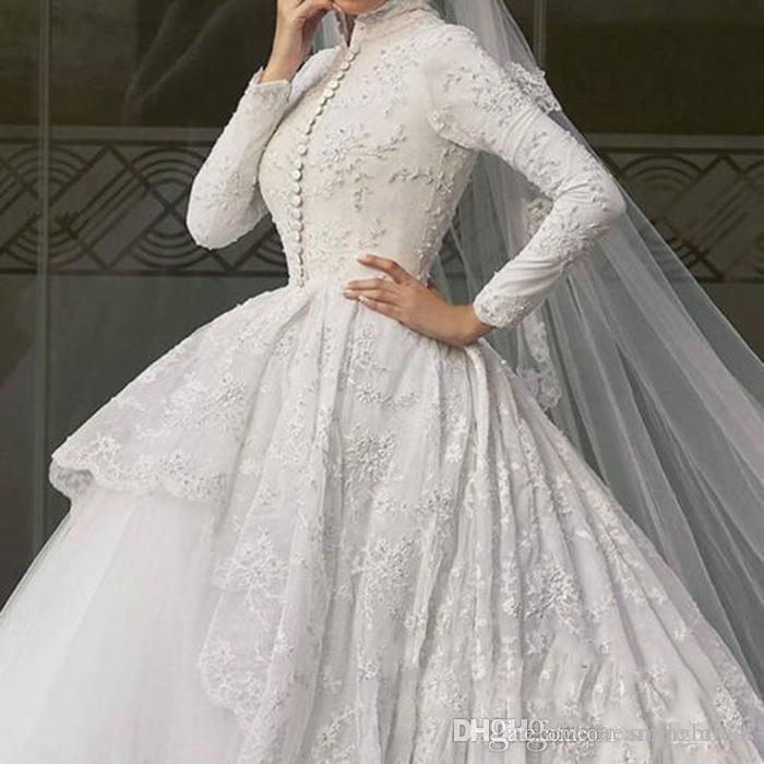 Neue lange Ärmel Spitze Muslime Brautkleider High Hals Tiered Bedeckt Button Front Ballkleid Hochzeit Brautkleider SB007