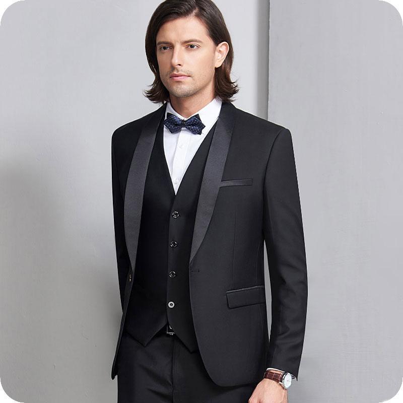 Trajes negro de los hombres de los trajes de esmoquin traje de boda del novio de la vendimia mejor hombre chaquetas chaqueta 3Pieces padrinos de desgaste Terno Masculino Traje de Hombre