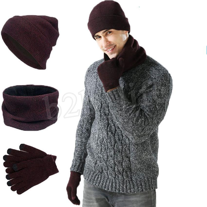 Cálidos guantes de punto Sombreros Bufanda Conjunto mujeres de los hombres de la pantalla táctil del guante Pañuelos establece sombrero grueso Skullies Gorros LJJM2366