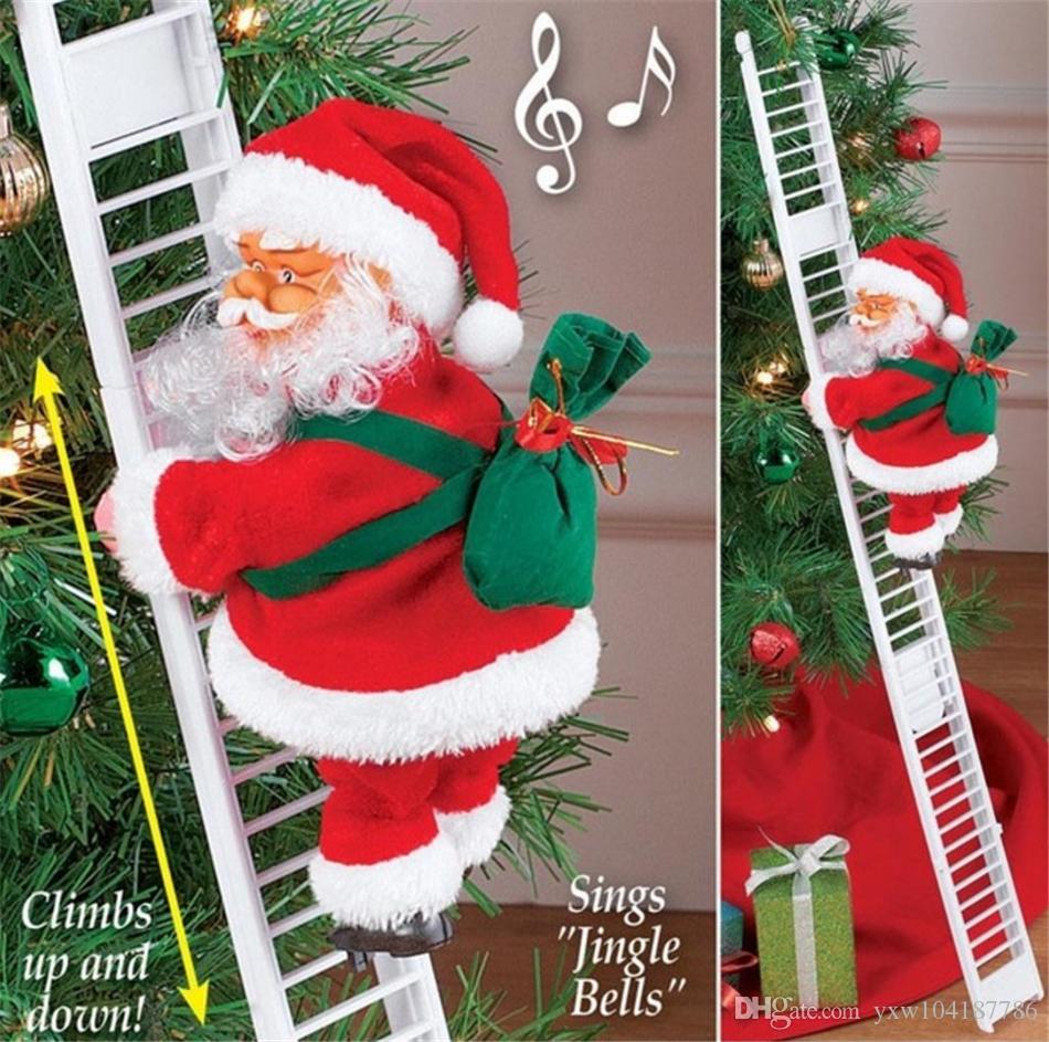 Eléctrica de Santa Claus subida de escaleras muñeca de juguete muñeca de la felpa de la decoración de la fiesta de Navidad de la puerta principal decoración de la pared