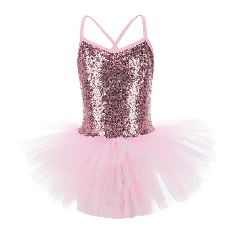 Bühnenabnutzung 2021 Mädchen Ballett Gymnastik Trikot Kleid Pailletten Tanz Schöne Kinder Professionelle Tutu