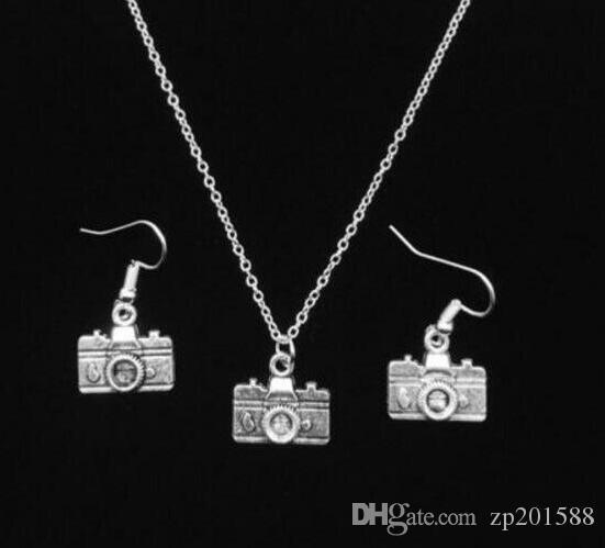Mixed Vintage Silver Buddha Head Camera Frog Oval Om Jesus Fleur De Lis Necklace Earrings Jewelry Set Women designer Friendship Gift