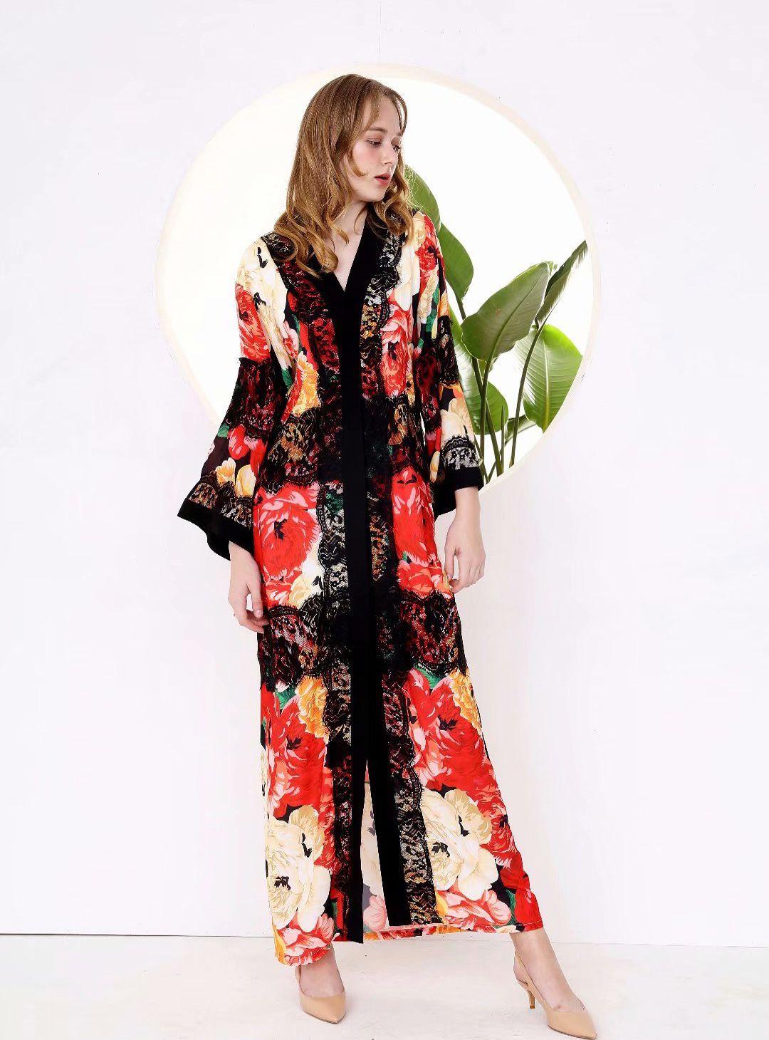 Pista 2019 vestidos de mujer atractiva de cuello en V manga larga de encaje impreso floral remiendo flojo de diseño de moda casual Vestidos High Street