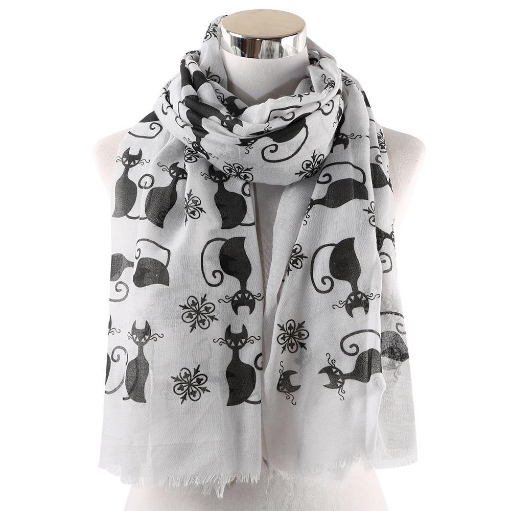 Nette Katzen-Druck Tier-Schal-Frauen-Damen-Weiß Rosa Hijab Viskose Tücher und Wraps weiblich 2019 Mode