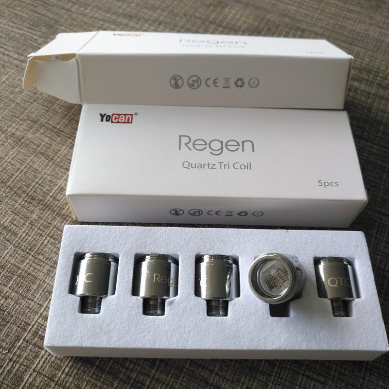 Original Yocan Regen QTC Coils Quartz Tri Coil QDC Quartz Dual Coil For Wax Clean Vapor 5pcs/pack