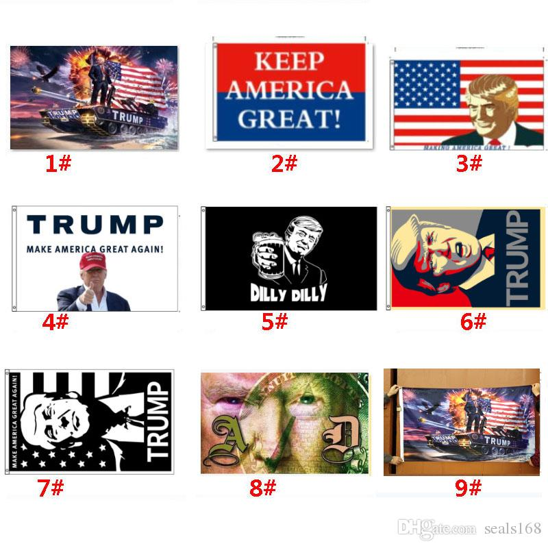 Trump 2020 Flagge Donald Trump Flagge Amercia Flags Persönlichkeit Decortive Banner Flagge Tank Festliche Party Supplies HH9-2160