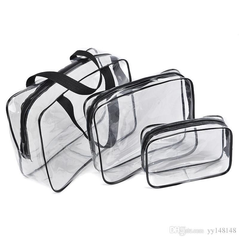 Sacchetto cosmetico trasparente Sacchetto dell'organizzatore di viaggio del PVC Zipper chiaro Sacchetto impermeabile di trucco delle donne Sacchetto di bellezza Borse di toilette Sacchetti della lavata del sacchetto