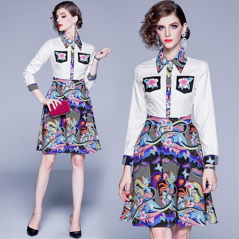 Luxus Blumenmuster-Knopf-Hemd-Kleid Frauen-Revers-Ansatz Partei-Abschlussball-Damen Runway-Kleid-beiläufige lange Hülsen-Büro Designer-Kleider